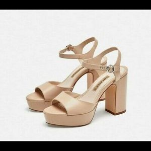Zara Platform Sandals - Nude.